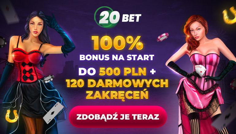100% bonus na start do 500 pln + 120 darmowych zakręceń