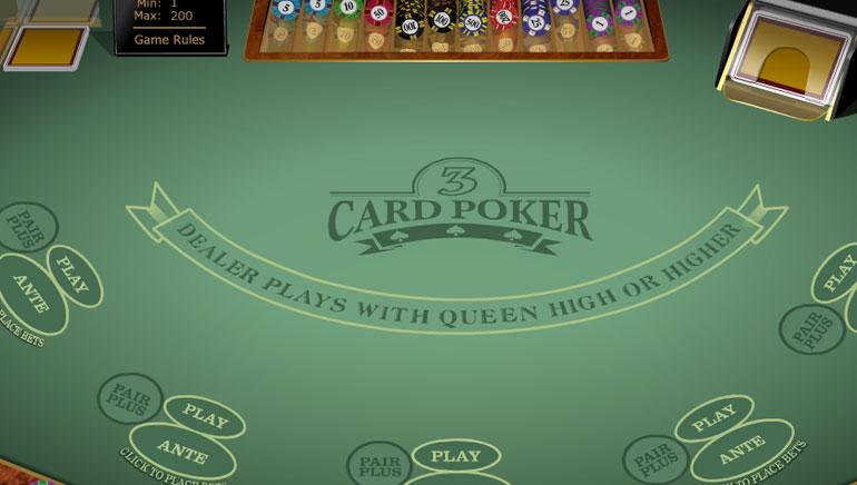 Multi Hand 3 Card Poker Gold
