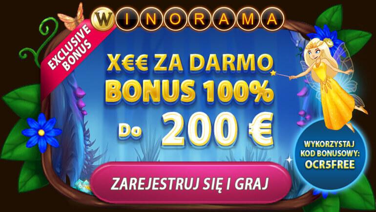 Odbierz 7EUR bonus i 130% Twojej wpłaty aż do 200 EUR w Winorama Casino