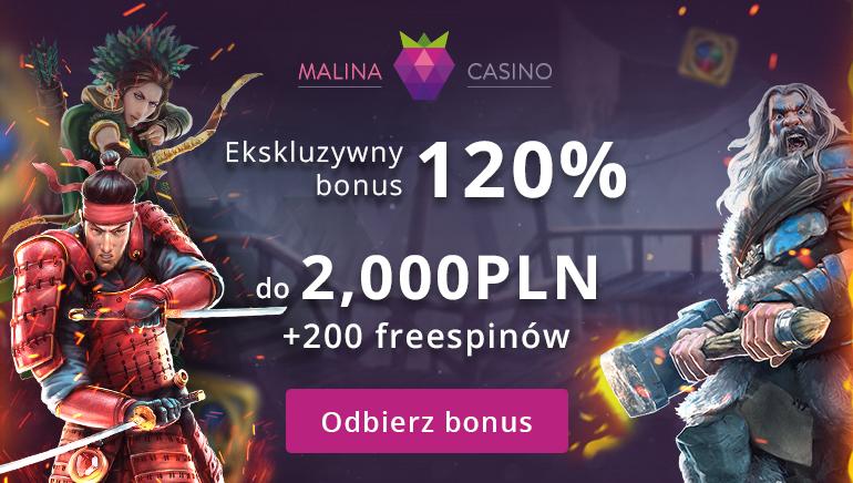 Wyjątkowa bonus powitalny 120% aż do 2000 zł w Malina Casino