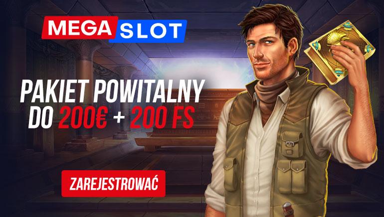 MEGASLOT - Bonus na powitanie do 900 pln +200 darmowych obrotów