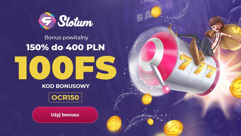 Slotum Casino bonus powitalny: 150% aż do wysokości 400 zł i 100 darmowych gier w ruletkę